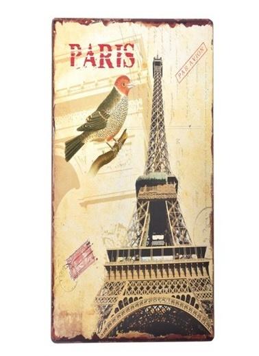 DecoTown Paris Eyfel Kulesi Ahşap Pano 30*60 Renkli